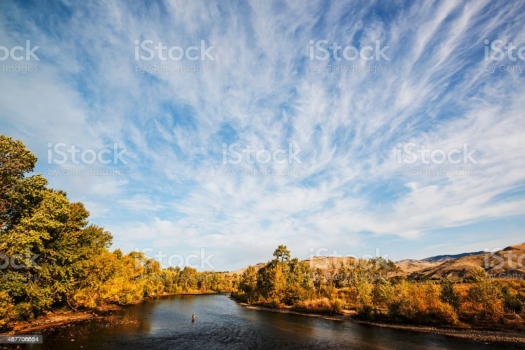 Dramatic clouds over Boise River in Idaho stock photo