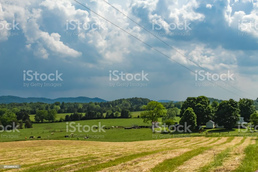 Dramatic Clouds Over Farm and Fields - Royalty-free Above Stock Photo