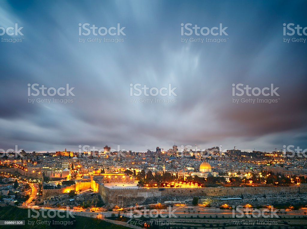 Dramatic clouds over Jerusalem old city, Israel stock photo