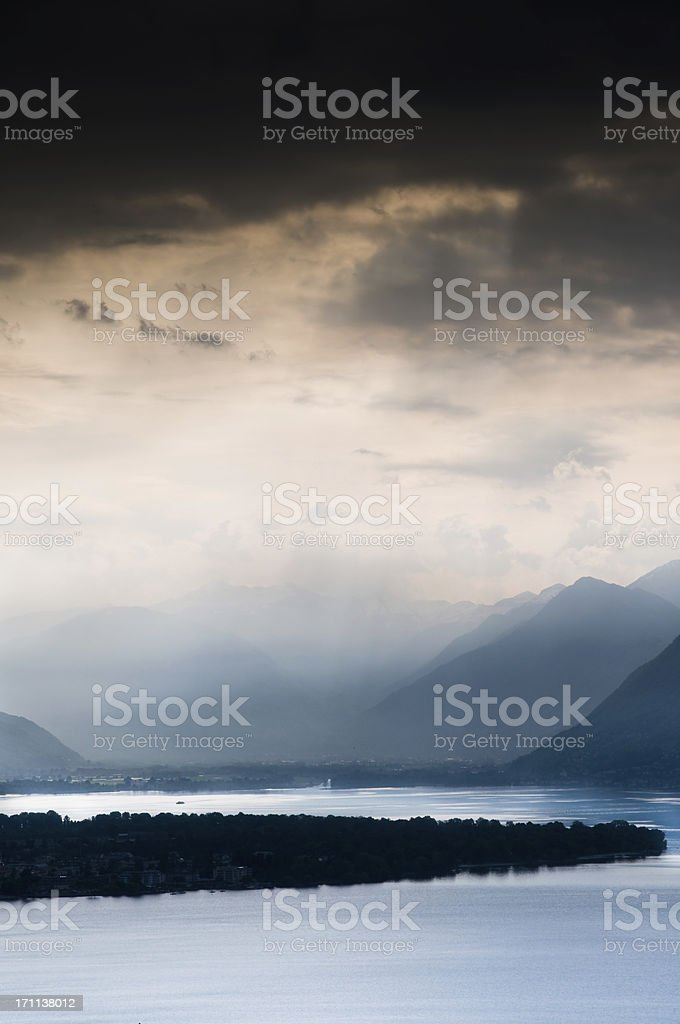 dramatic clouds over magadino switzerland royalty-free stock photo