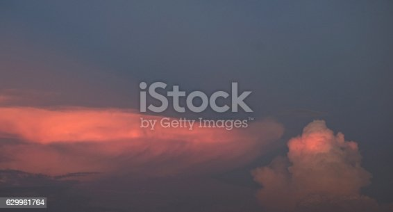 529114076 istock photo Dramatic clouds sky sunset with blue and pink color 629961764