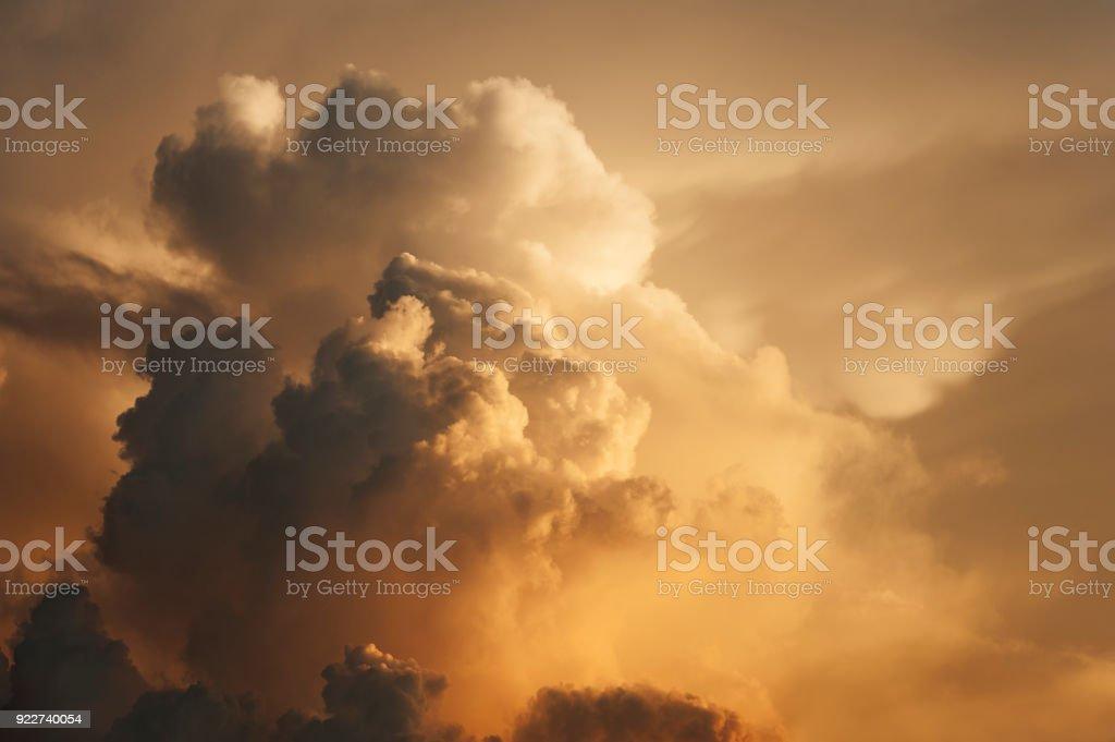 dramatic cloudscape at sunset stock photo