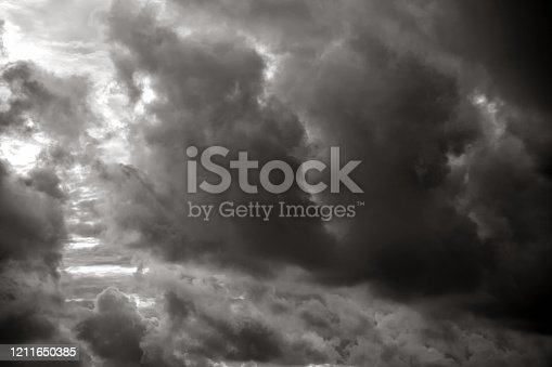 Black and white empty sky with storm clouds