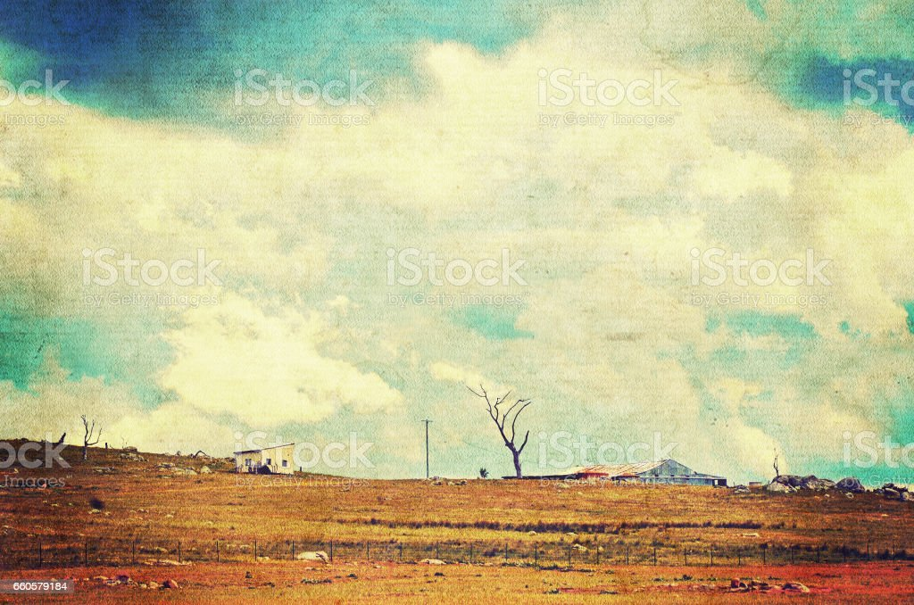 Dramatic cloudscape over farmland royalty-free stock photo