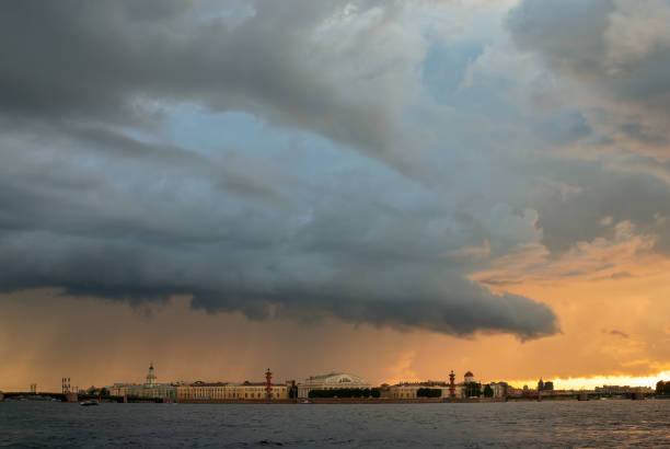 Dramatic cloudscape over St. Petersburg, Russia stock photo
