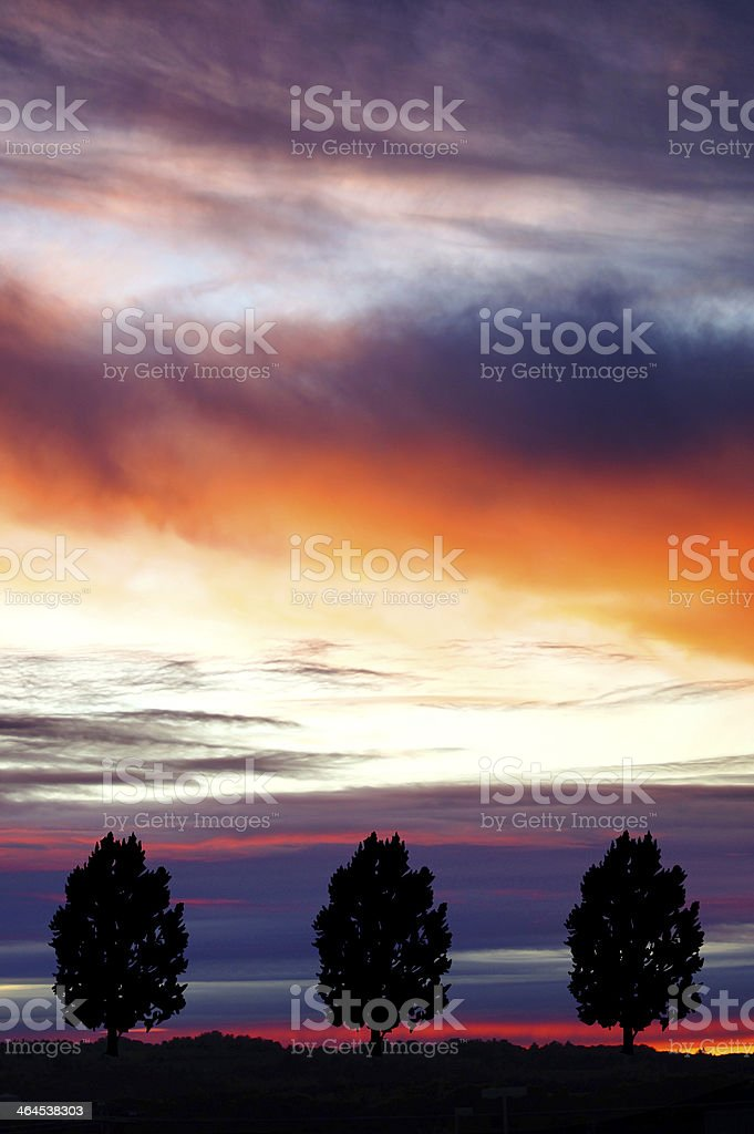 Dramatic cloudscape sunset scene with three trees stock photo