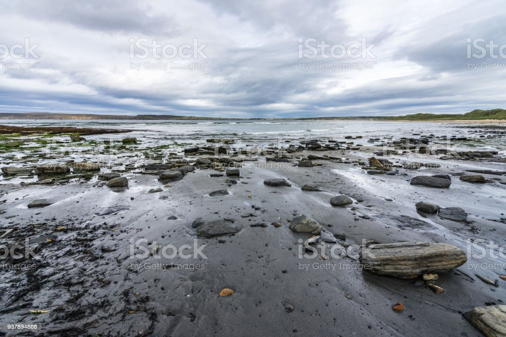 Dramatic cloudy seascape of Dunnet Bay in Scotland north coast, Britain stock photo