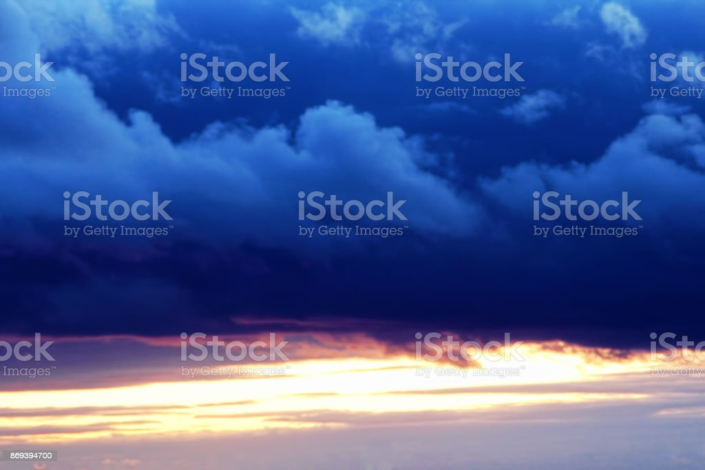 Dramatic cumulus clouds.Cloudy thunderstorm and sunset sky.Abstract nature background. stock photo