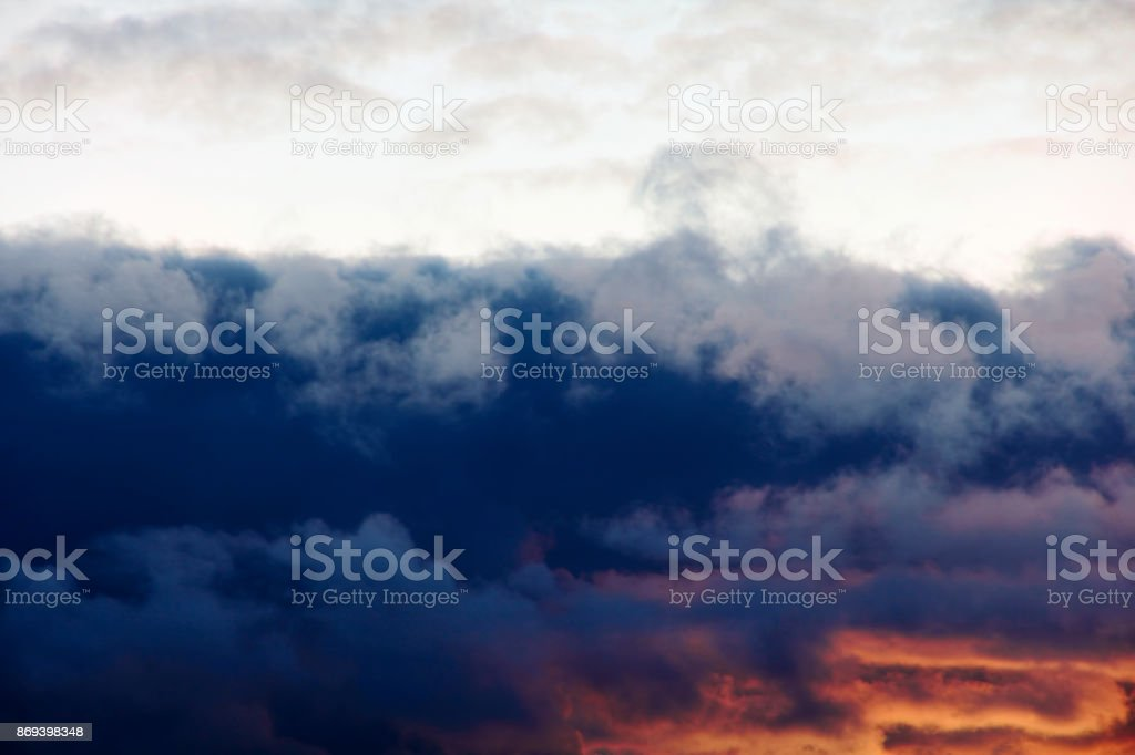 Dramatic cumulus clouds.Cloudy thunderstorm sky.Abstract nature background. stock photo