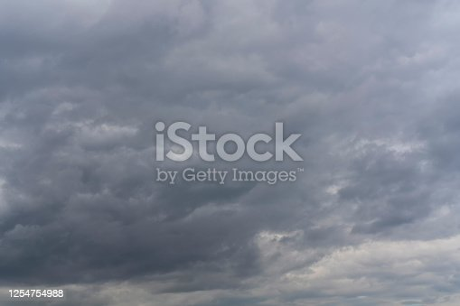 858837068 istock photo Dramatic dark sky covered with gray clouds. 1254754988