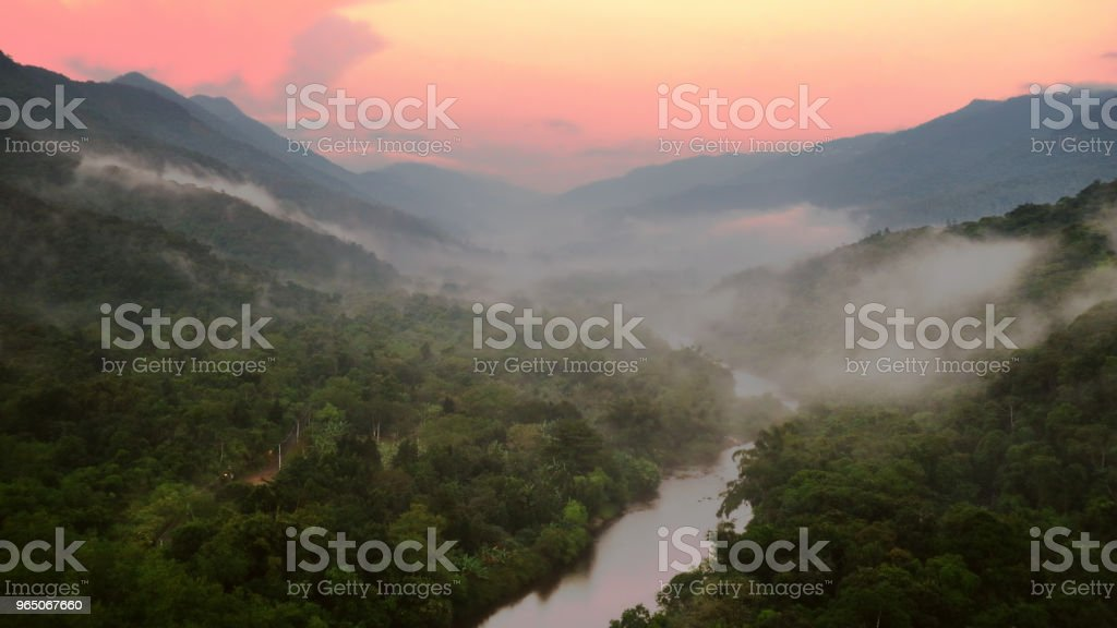 Dramatic dawn at Atlantic rain forest in Serra do Mar, Sao Paulo, Brazil. royalty-free stock photo