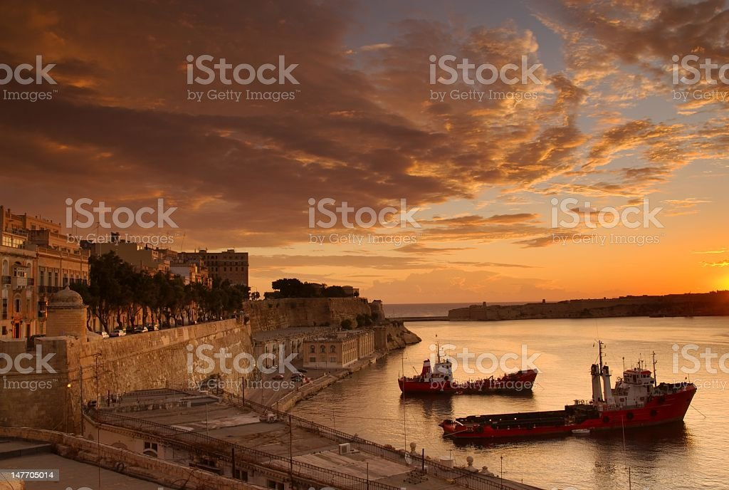 Dramatic Dawn at Valletta, Malta royalty-free stock photo