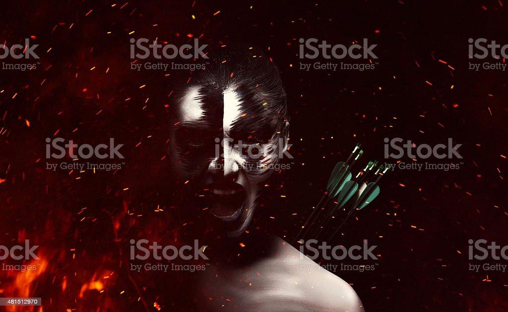 dramatic evil woman burning stock photo