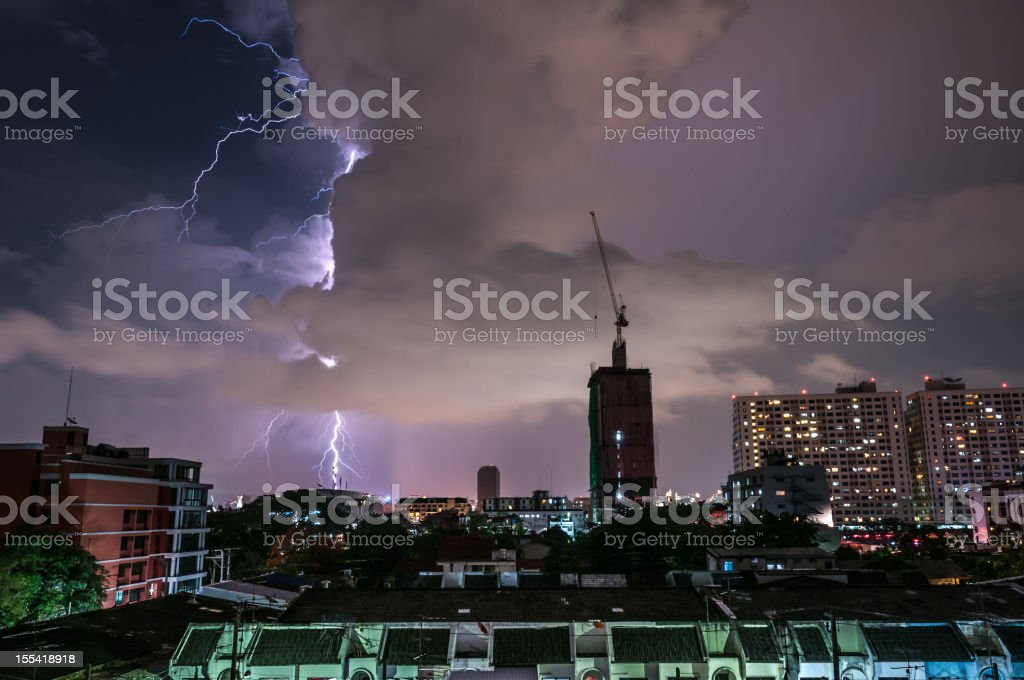 Dramatic Fork Lightning Strike In The City stock photo