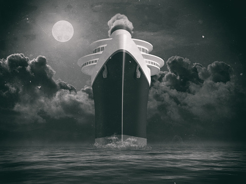 Dramatic frontal view of a trans atlantic cruise liner illustration and composition