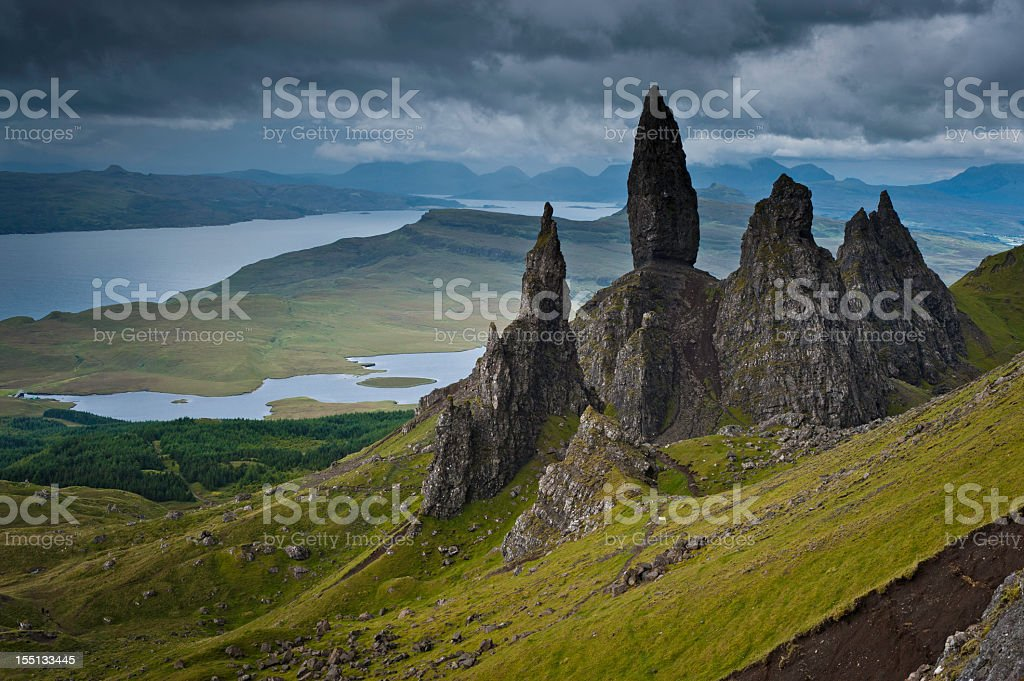 Dramatic Highland pinnacles Old Man of Storr Skye Scotland royalty-free stock photo