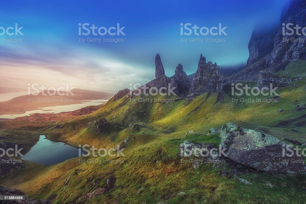 Dramatic Highland pinnacles Old Man of Storr Skye Scotland stock photo