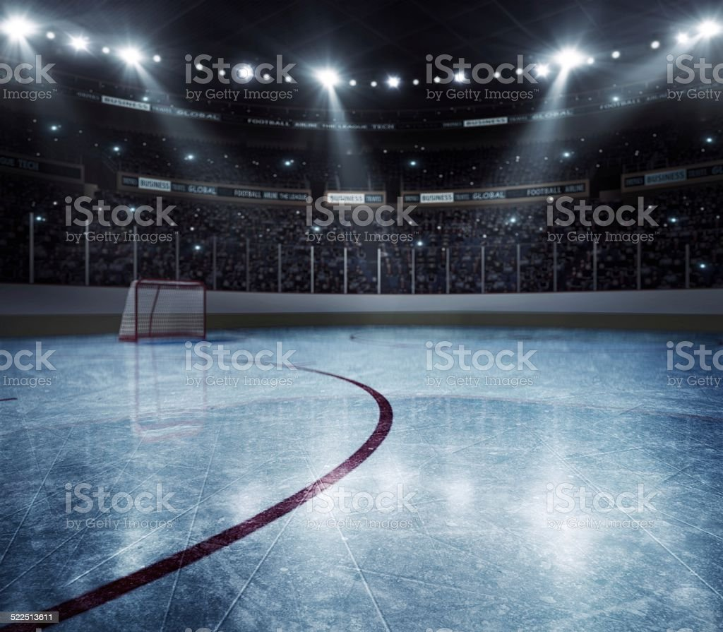 Dramatic hockey arena stock photo