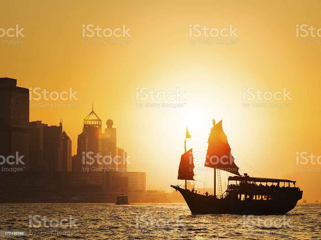 Dramatic Hong Kong Sunset stock photo