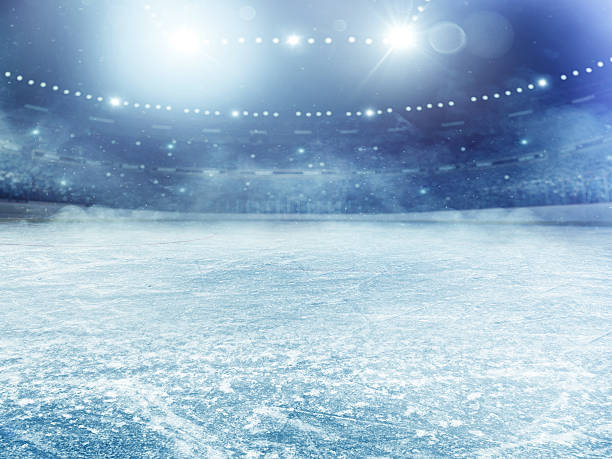superbe stade de hockey sur glace - glace photos et images de collection