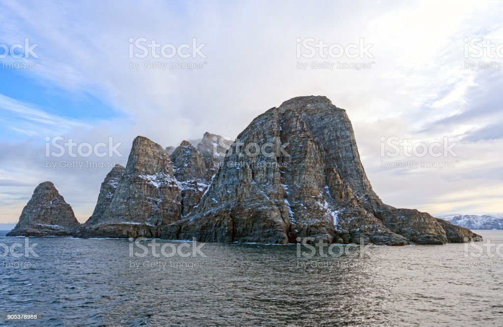 Dramatic Island in the High Arctic stock photo