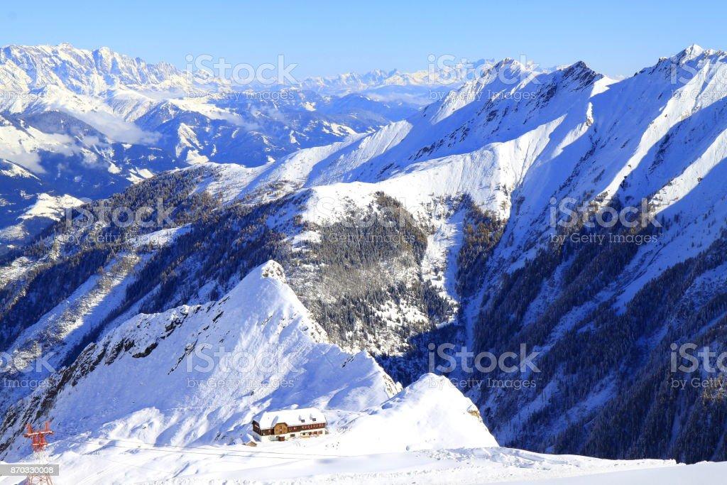 Dramatic Kitzsteinhorn snowcapped Alpine landscape in Austrian hohe tauern Tirol, above Kaprun and Zell am See mountain range - Majestic Tyrol Kitzbühler Snowcapped mountains panorama and Idyllic Tirol alps, Austria stock photo