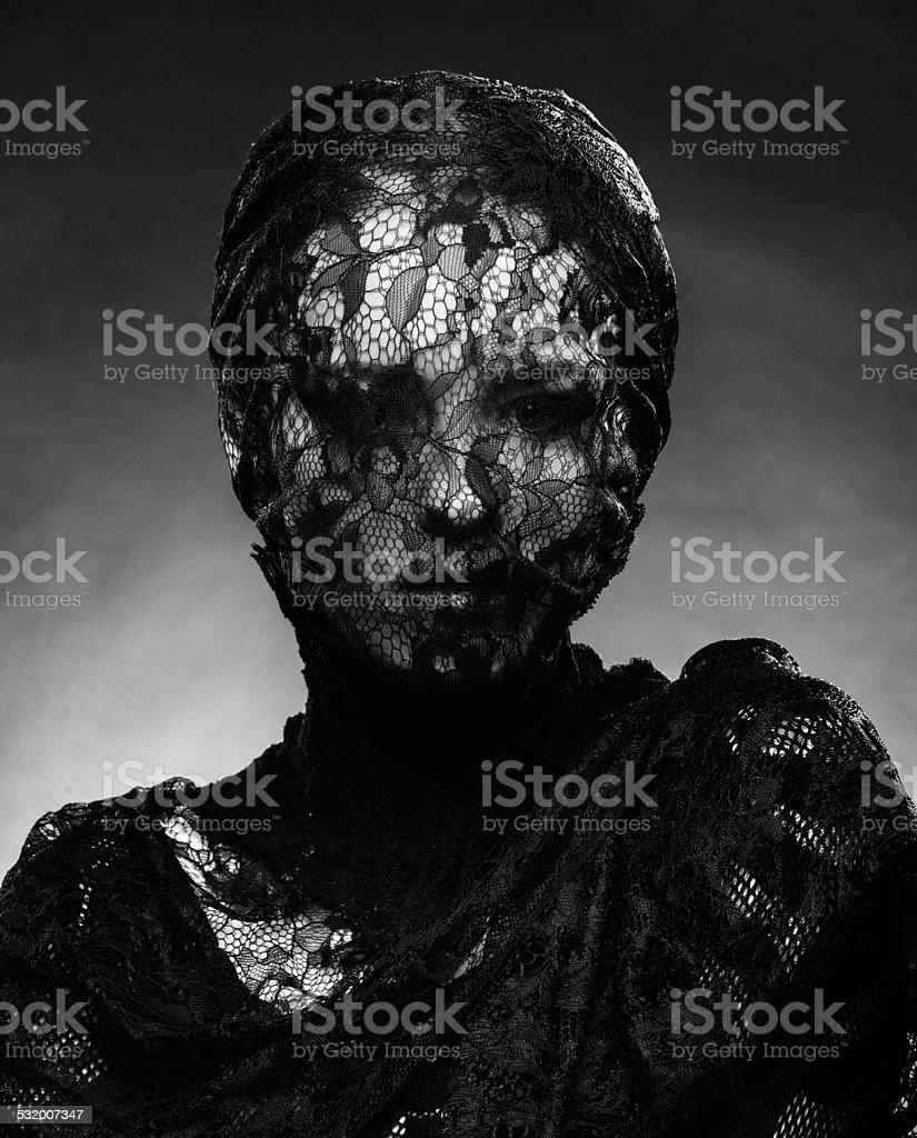 dramatic lace woman stock photo