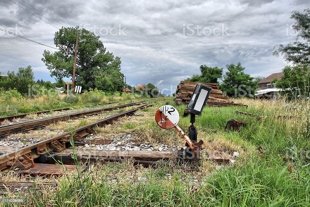 dramatic landsape with an old railway tracks royalty-free stock photo