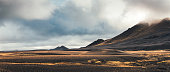 Dramatic volcanic landscape in the Highlands of Iceland. Panoramic view.