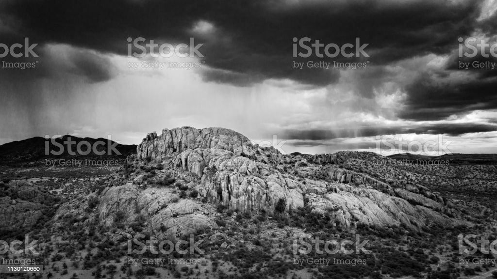 Dramatic Landscape Namibia Aerial View Black and White stock photo
