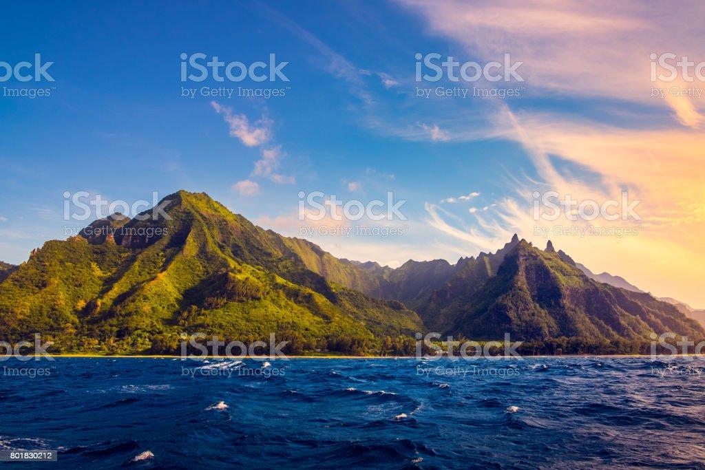Dramatic landscape of Na Pali coast, Kauai, Hawaii stock photo