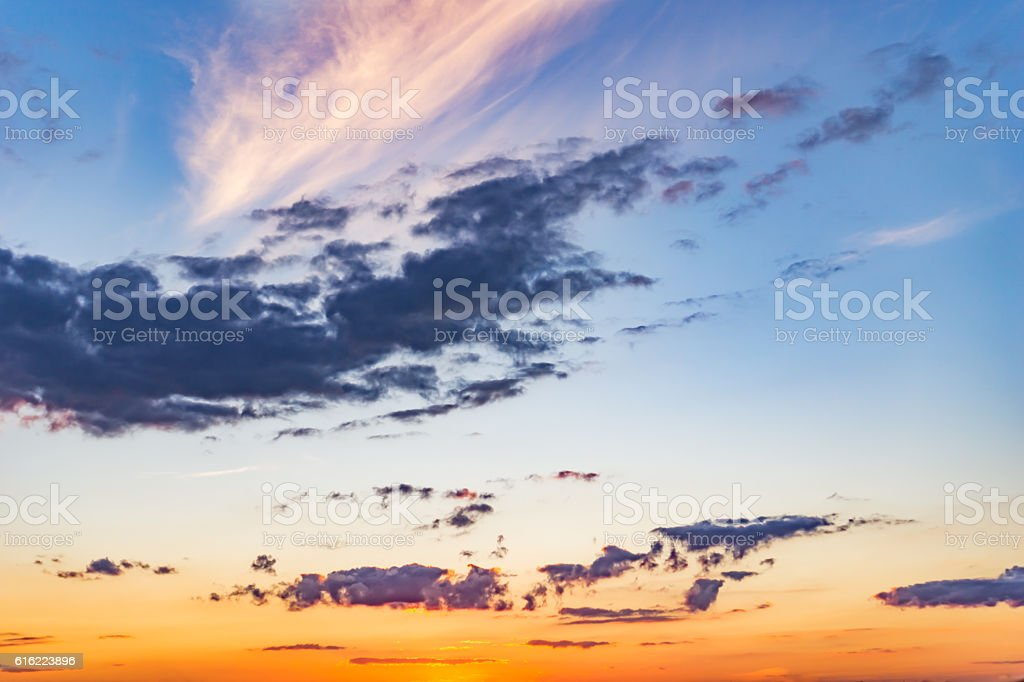 Dramatic landscape sunset stock photo