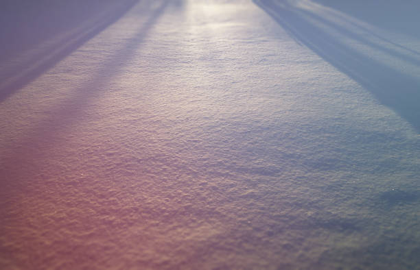 Dramatic light rays on winter snow landscape background stock photo