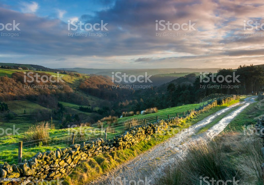 dramatic lighting on yorkshire dales valley stock photo