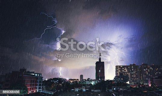 656192770istockphoto Dramatic Lightning Strike In Bangkok, Thailand 889068456