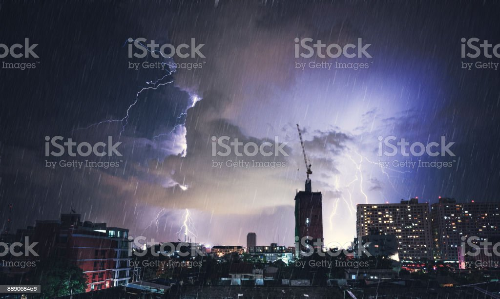 Dramatic Lightning Strike In Bangkok, Thailand stock photo