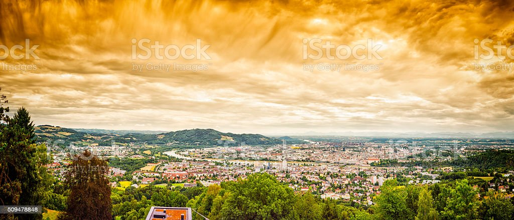 Dramatic Linz Panorama stock photo