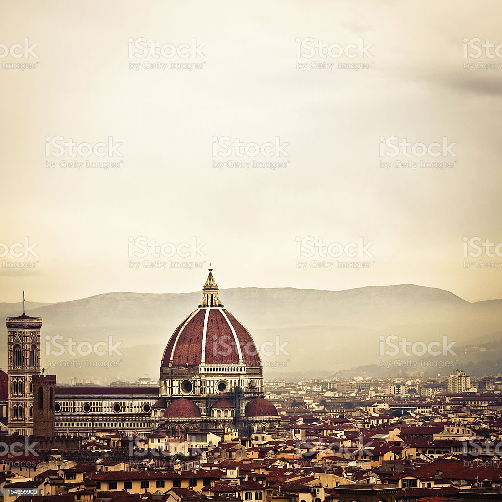 Dramatic Mood for Florence Duomo, Foggy Skyline in Italy royalty-free stock photo