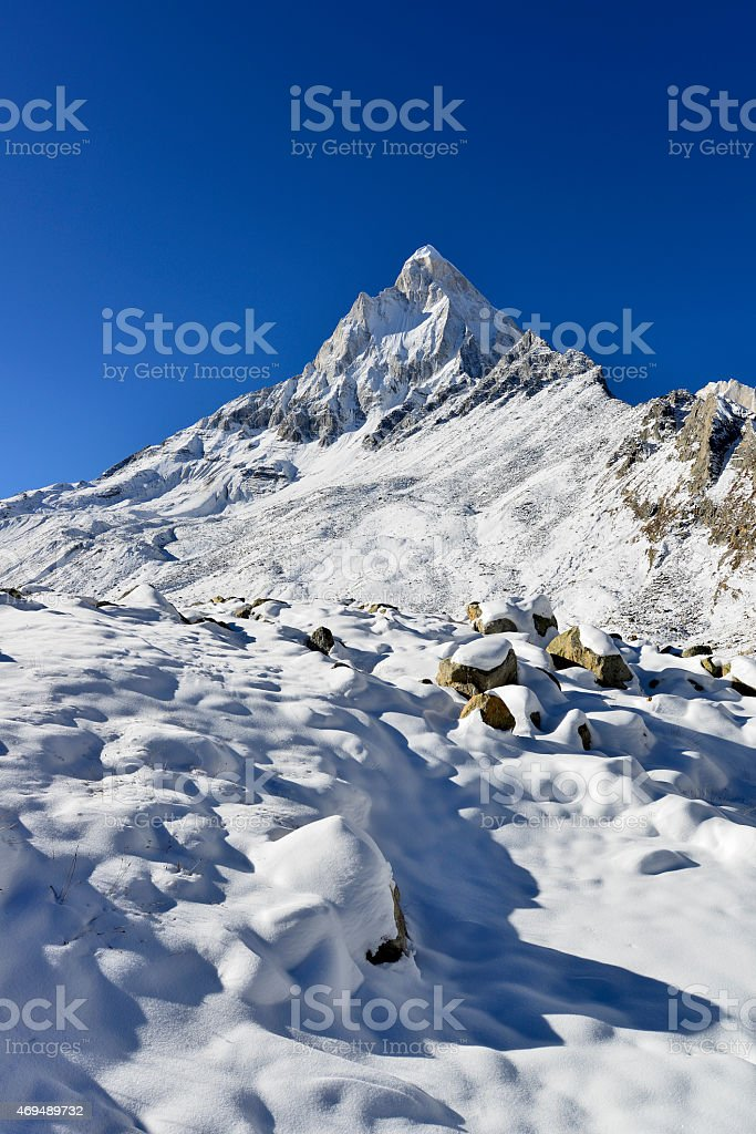 dramatic Mount Shivling in the western Garhwal Himalaya, Uttarakhand, Uttaranchal stock photo