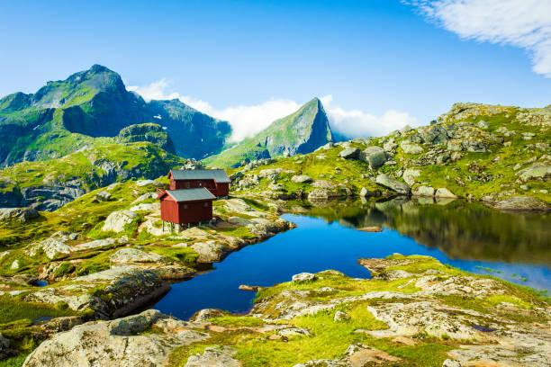 Dramatic mountain scenery of Lofoten Islands, Norway Spectacular mountain scenery of Lofoten Islands, Norway lofoten stock pictures, royalty-free photos & images