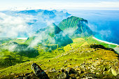 Spectacular mountain scenery of the cloudy Lofoten Islands, Norway
