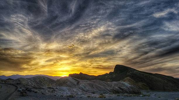 Dramatic Mountain Sunset at Death Valley National Park, California stock photo