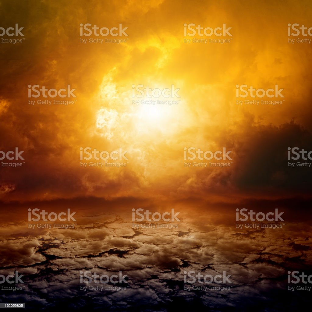 Dramatic nature background of clouds and a sunset stock photo