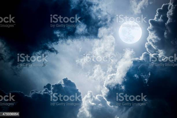 Photo of Dramatic Nighttime Clouds and Sky With Beautiful Full Blue Moon