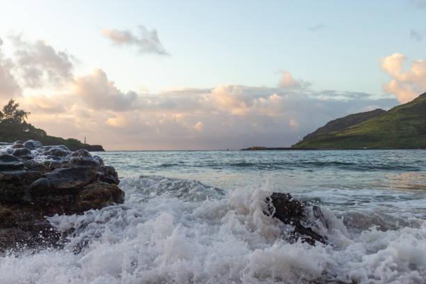 Dramatic Ocean Waves in Hawaii stock photo