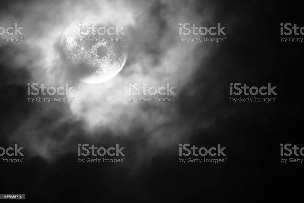 Dramatic of night sky and clouds with full moon. royalty-free stock photo
