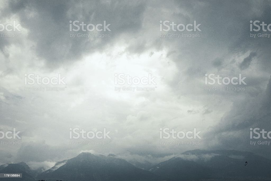 Dramatic ominous sky: dark gray storm clouds royalty-free stock photo