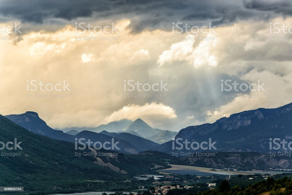 Dramatic overcast cloudy sky before rain in Southern Alps in France