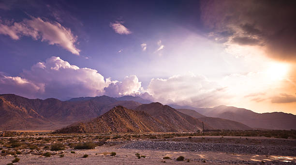 dramatic palm springs landscape - halbergman stock pictures, royalty-free photos & images