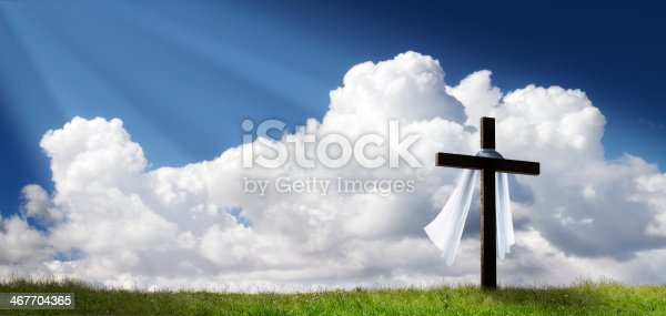 istock Dramatic Panorama Easter Sunday Morning Sunrise With Cross On Hill 467704365